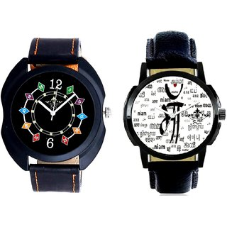 Maa All Language And Fancy 3D Chain Look Men's Analog Combo Casual Wrist Watch By Taj Avenue