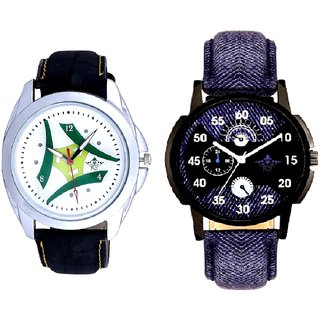 Blue Round Dial And White-Grren Tri Dial SCK Men's Combo Watch