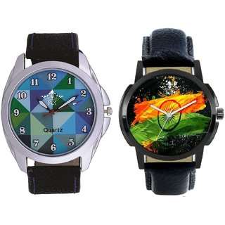 Indian Flage And Royal Sky Colour Art Men's Combo Casual Watch By SCK
