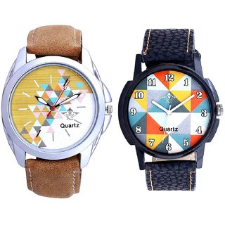 White-Brown Designer Dial And Orange Art Colour SCK Men's Combo Wrist Watch