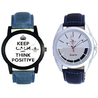 Men Power Of Positive Thinking And Royal Silver Black Dial Analog SCK Combo Watch -For Men