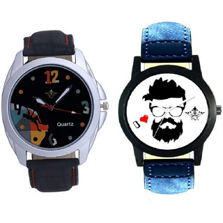 I Love Rock Handsome And Black Dial Goal Achived Art SCK Combo Gallery Wrist Watch