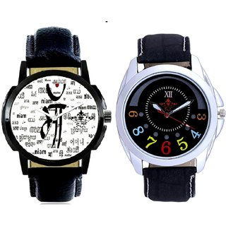 Maa All Language And Classical Black Round Dial Men's Combo Quartz Watch By Taj Avenue