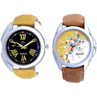Exclusive Roman Digits And White-Brown Designer Dial Analogue SCK Men's Combo Watch