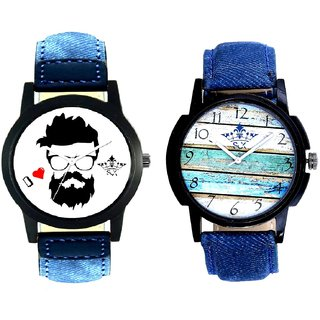 Rock With Wooden Wall Denim Design SCK Combo Gallery Wrist Watch