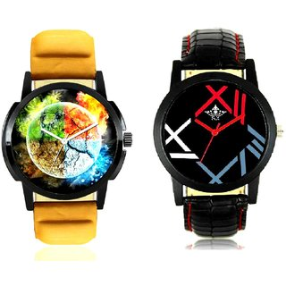 Stylish 3D Designer And Fancy Roman Digit Men's Combo Analog Wrist Watch By Taj Avenue