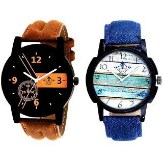 Brown Elegant Tri With Wooden Wall Denim Design SCK Combo Gallery Wrist Watch