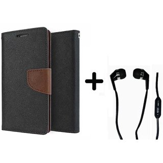 New Mercury Goospery Wallet Flip Cover Micromax Bolt S302   - BROWN With Earphone (3.5mm Jack)