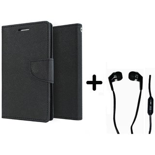 New Mercury Goospery Wallet Flip Cover Micromax Canvas 2 A110  - BLACK With Earphone (3.5mm Jack)