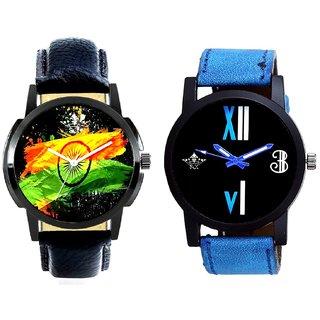Indian Flage And Roman White - Blue Fancy Men's Analog Combo Casual Wrist Watch By Taj Avenue