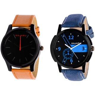 Kajaru KJR-13,6 Round Black And Blue Dial Analog Watch Combo for Men
