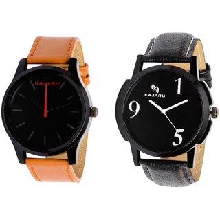 Kajaru KJR-13,5 Round Black Dial Analog Watch Combo for Men