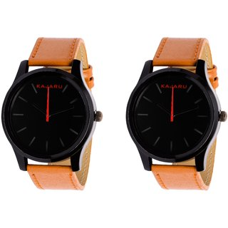 Kajaru KJR-13 Round Black Dial Analog Watch Combo for Men