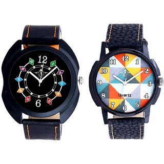 Orange Art Colour And Black Dial Chain Digits SCK Men's Combo Watch