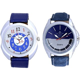 Almight Blue Round Dial And Stylish Smile Dial Analogue Men's Combo Wrist Watch By Taj Avenue