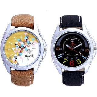Attractive Design Brown Belt And Classical Black Round Dial Men's Combo Quartz Watch By Taj Avenue