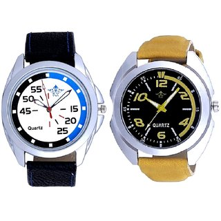 Yellow Sports Strap And Special Blue Black Round Quartz SCK Combo Analogue Wrist Watch
