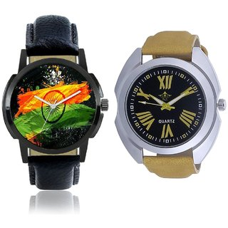Indian Flage And Roman Digits Special Design Men's Analog Combo Casual Wrist Watch By Taj Avenue