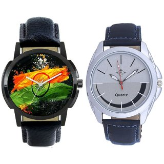 Indian Flage And Royal Silver-Black Dial Men's Combo Quartz Watch BY Harmi Exim