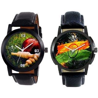 Indian Flage And Cricket Super Design Men's Combo Quartz Watch By Taj Avenue