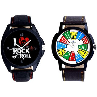 Exclusive Multi Colour And I Love Rock N Roll Print Dial Men's Combo Analog Wrist Watch By Taj Avenue