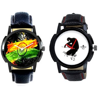 Indian Flage And Fancy White Dial Men's Combo Casual Watch By Taj Avenue