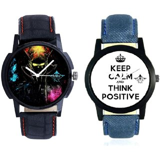 Super Power Of Positive Thinking And Black Multi Colour Quartz SCK Combo Analogue Wrist Watch