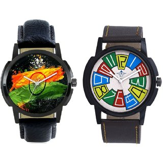 Indian Flage And Exclusive Multi Colour Men's Combo Wrist Watch By Taj Avenue