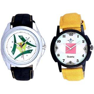 Green Tri Fan Stylish With Parikar Hexa Square Design SCK Combo Gallery Wrist Watch