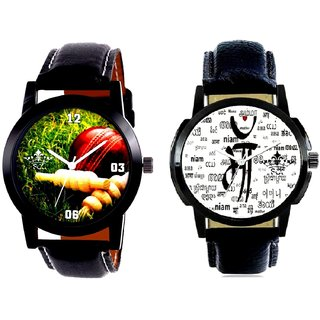 Maa All Language Print Dial And Best Cricket Design SCK Men's Combo Wrist Watch
