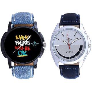 Every Thinke Will Be Ok And Royal Silver-Black Dial Men's Combo Quartz Watch By Taj Avenue