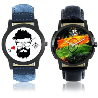 Indian Flage And I Love Rock Men's Combo Casual Watch By Taj Avenue