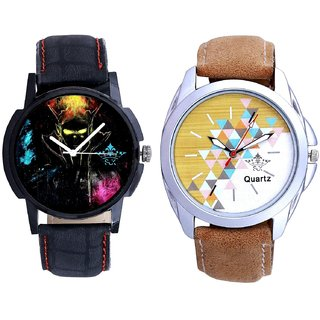 Attractive Design Brown Belt And Elegant 3D Designer Quartz  Combo Analogue Wrist Watch By Taj Avenue