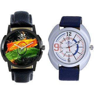 Indian Flage And Blue Sport Leather Strap Casual Analog Combo Men's Watch By Taj Avenue