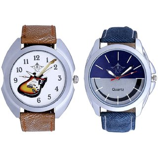 Colouring Guitar And Smiley Look Dial Analog Men's Combo Wrist Watch