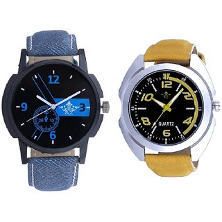 Awesome Blue Dial And Yellow Sports Strap SCK Men's Combo Wrist Watch