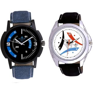 Elegant Design 3 Fan And Blue Sport Round Dial Analog SCK Combo Watch -For Men