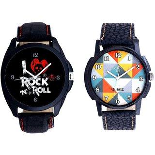 Fancy Orange Colour And I Love Rock N Roll Print Dial Men's Combo Analog Wrist Watch By Taj Avenue