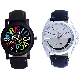 Latest Silver Black Dial  And Black Dial Multi Colour Digit SCK Analogue Combo Watch