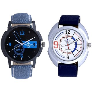 Luxury Blue Round Dial And Exclusive Blue Sport Leather Strap SCK Men's Combo Wrist Watch