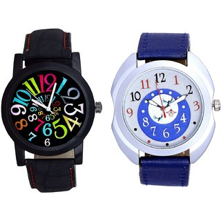 Exclusive Blue Round Dial And Black Dial Multi Colour Digit SCK Analogue Combo Watch