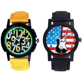 Awesome USA Design And Black Dial Yellow-Green Digits Analog SCK Combo Watch -For Men