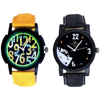 Goal Achived Art And Black Dial Yellow-Green Digits Analog SCK Combo Watch -For Men