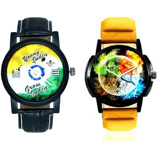 Stylish 3D Designer And Young India Grow India Men's Analog Combo Casual Wrist Watch By Taj Avenue