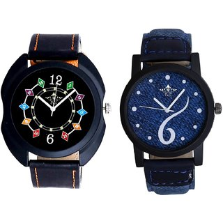 Blue Lather Design And Black Dial Chain Digits SCK Men's Combo Watch