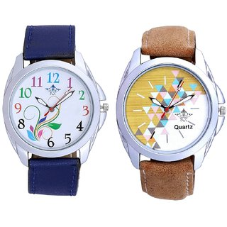 Attractive Design Brown Belt And Colouring Flowers Men's Combo Casual Watch By Taj Avenue
