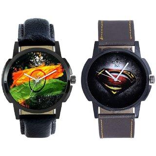 Indian Flage And Super Men Stylish Men's Combo Analog Wrist Watch By Taj Avenue