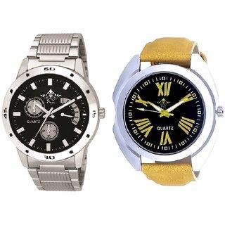 Exclusive Roman Digits And Elegant Black Dial Metal Belt SCK Men's Combo Wrist Watch