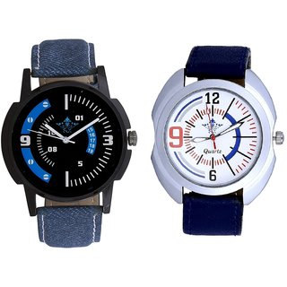 White Dial Sport And Attractive Almight Blue Line Analog Men's Combo Wrist Watch