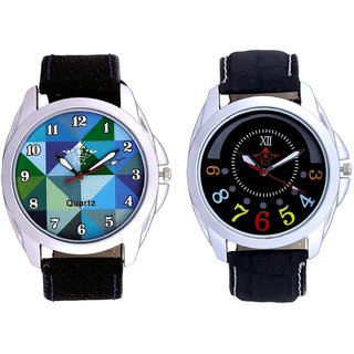 Classical Black Round Dial And Royal Sky Colour Art Analog Men's Combo Wrist Watch